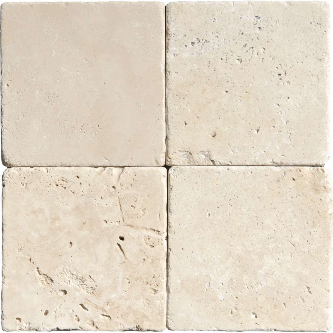 Ivory Travertine Tumbled Antique Marble X Corp Counter